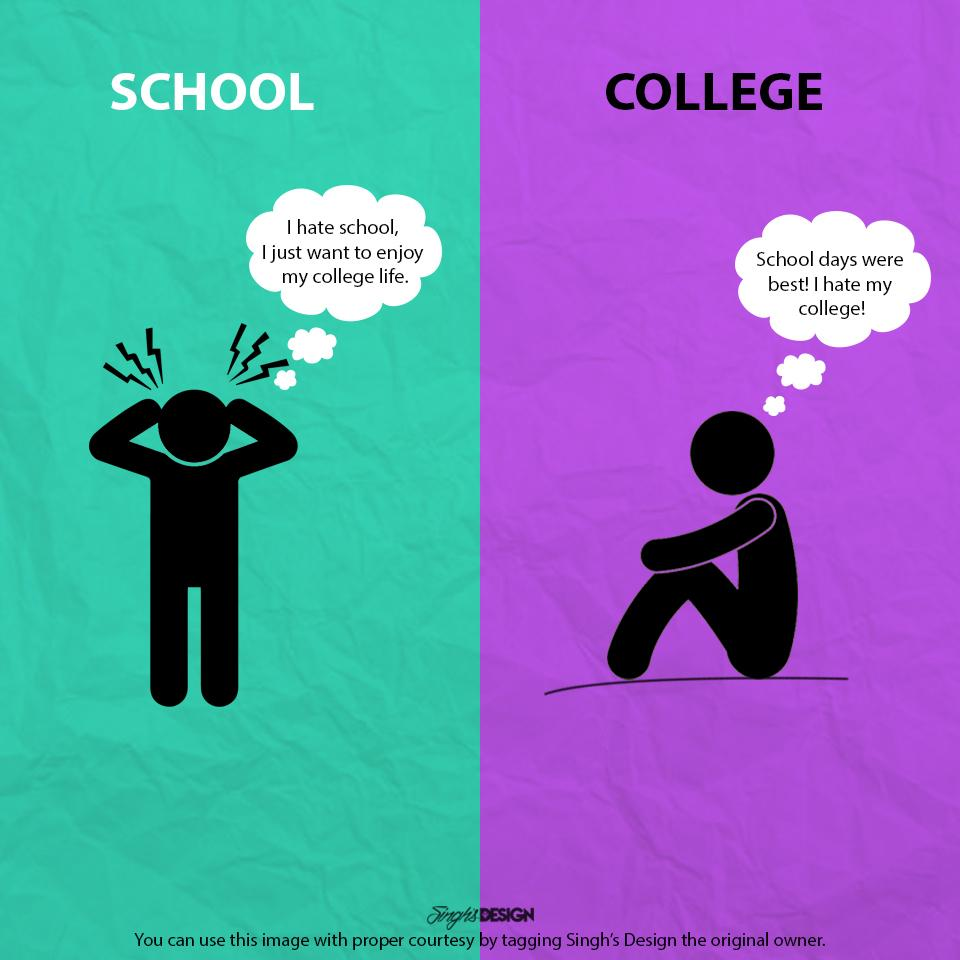 essay on college life vs school life School life vs college life school life and college life are two different stages in your life that show lot of differences between them school life is generally more disciplined than college life.