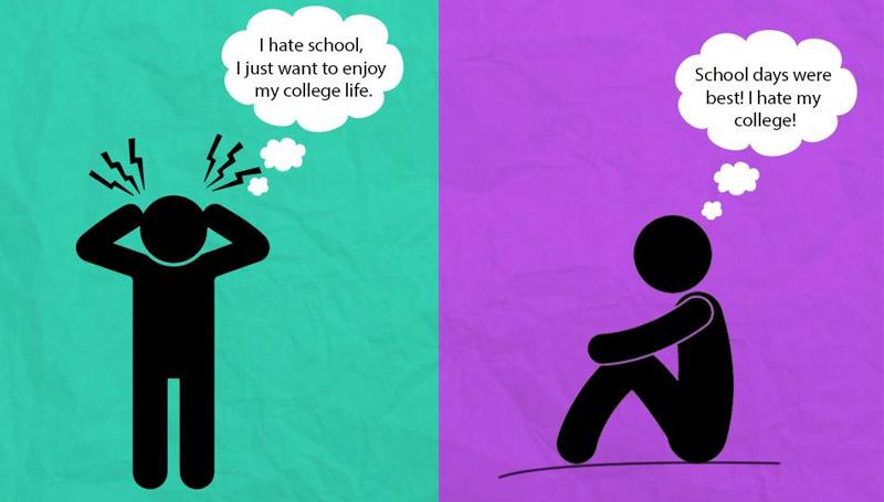 ความแตกต่าง มหาวิทยาลัย เด็กหอ โรงเรียน