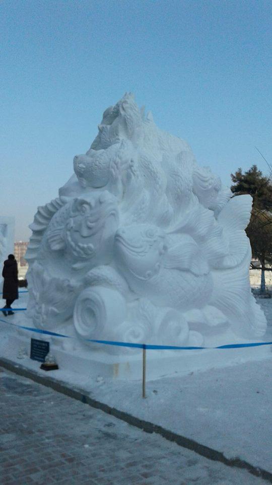นศ.อาชีวะอุบลฯ คว้ารางวัลแกะสลักหิมะเวทีระดับโลก