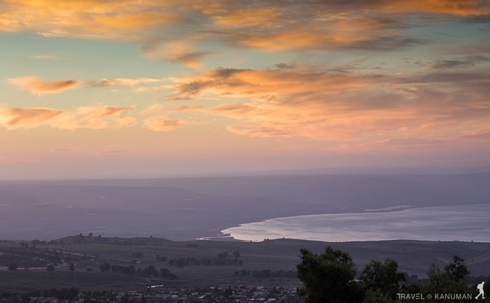 View from Galilee Mountains to Galilee Sea, Kinneret, Israel. Golan Heights.