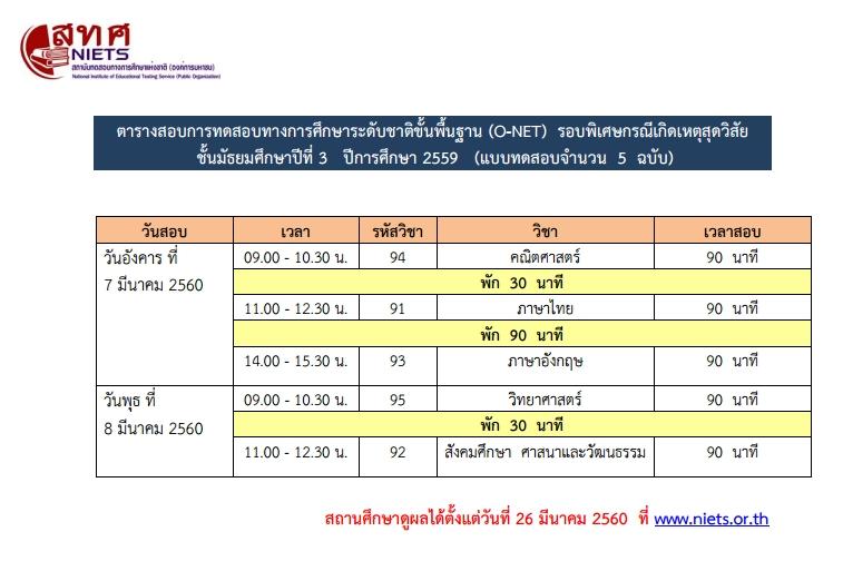 ตารางการสอบ O-NET ป.6 และ ม.3 รอบพิเศษฯ ปีการศึกษา 2559