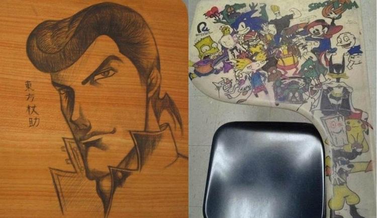 ญี่ปุ่น ศิลปะบนโต๊ะเรียน