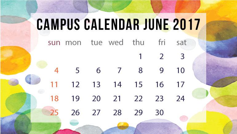 ปฏิทินกิจกรรมมหาวิทยาลัย เดือนมิถุนายน 2560
