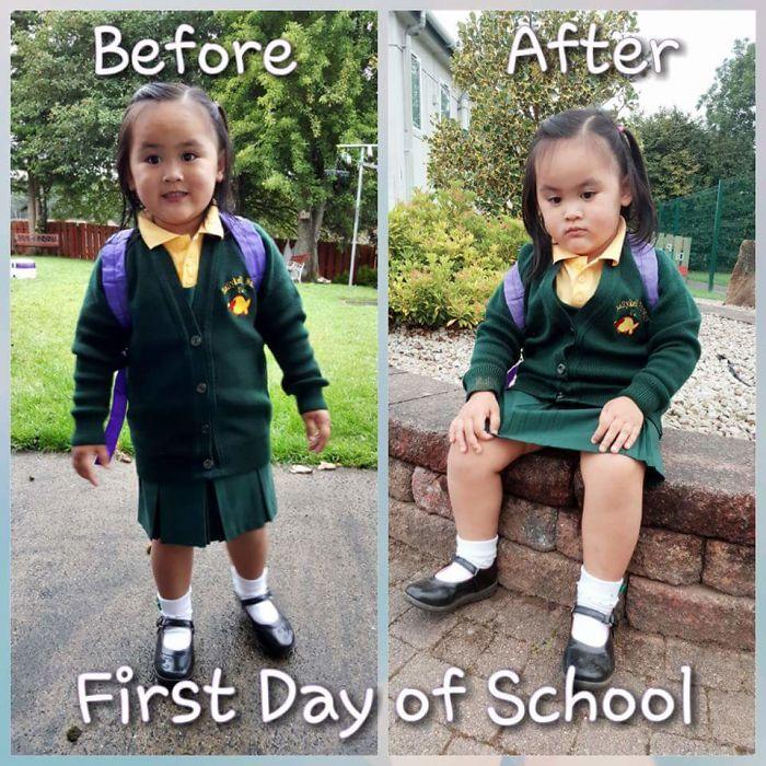 ภาพนักเรียนก่อน-หลัง ไปโรงเรียน