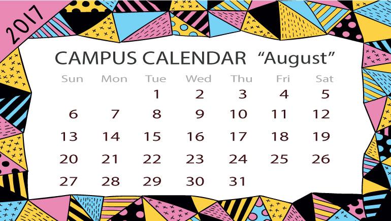 ปฏิทินกิจกรรมมหาวิทยาลัย เดือนสิงหาคม 2560