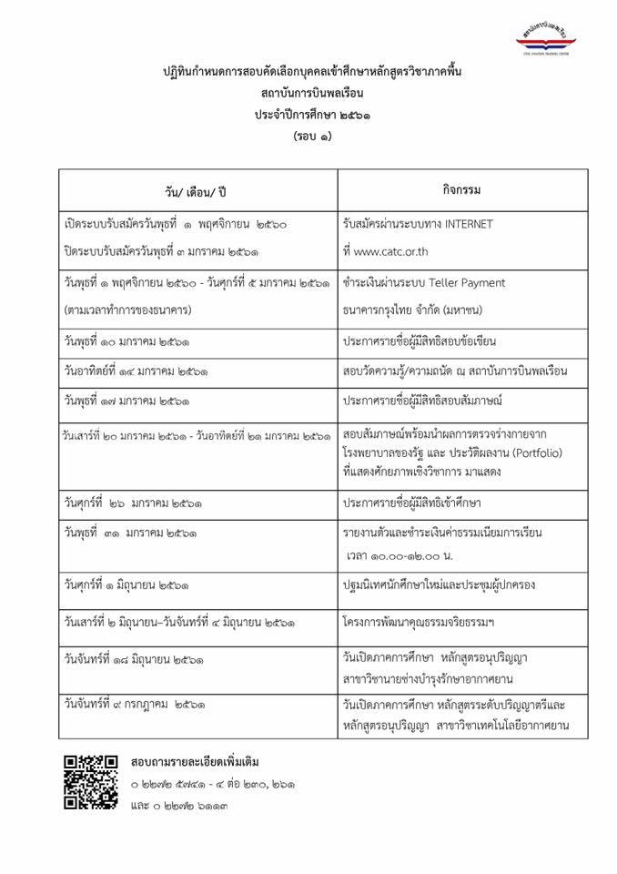 กำหนดการสอบคัดเลือก (รอบที่ 1)