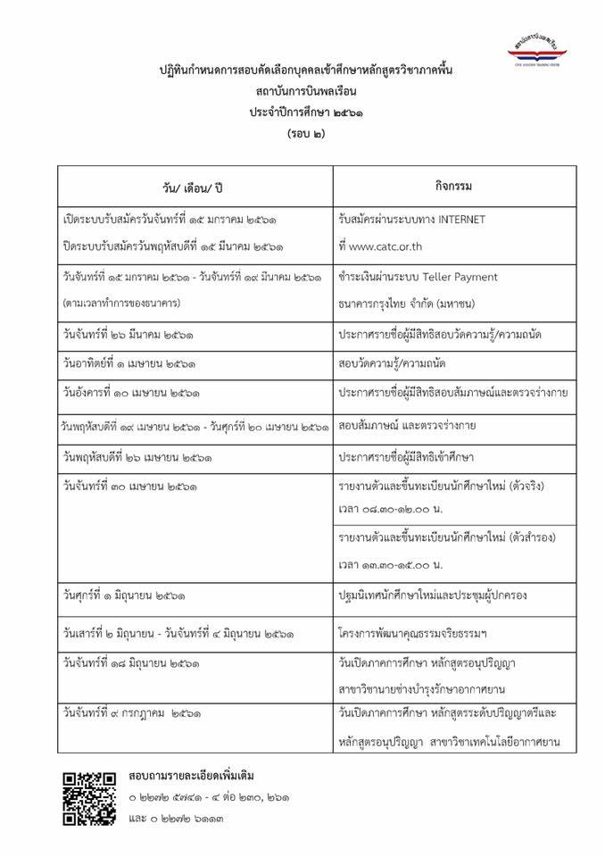 กำหนดการสอบคัดเลือก (รอบที่ 2)