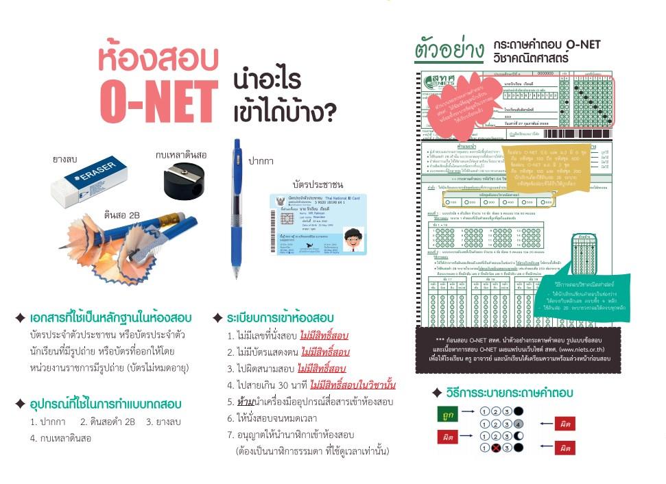 นำอะไรเข้าห้องสอบ O-NET ได้บ้าง?