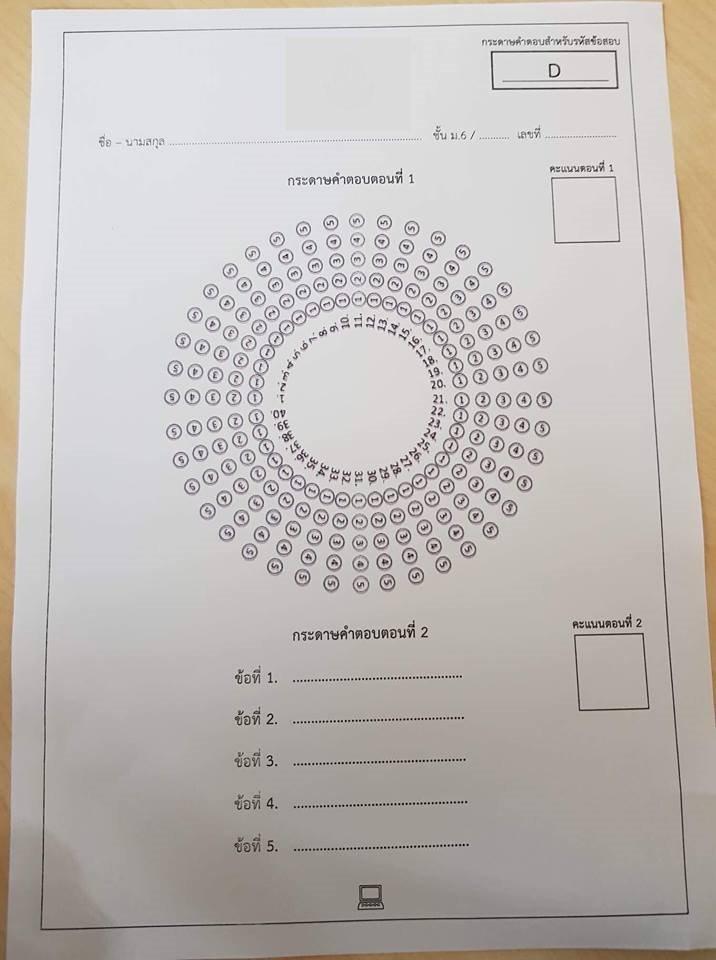กระดาษคำตอบกันคนลอก