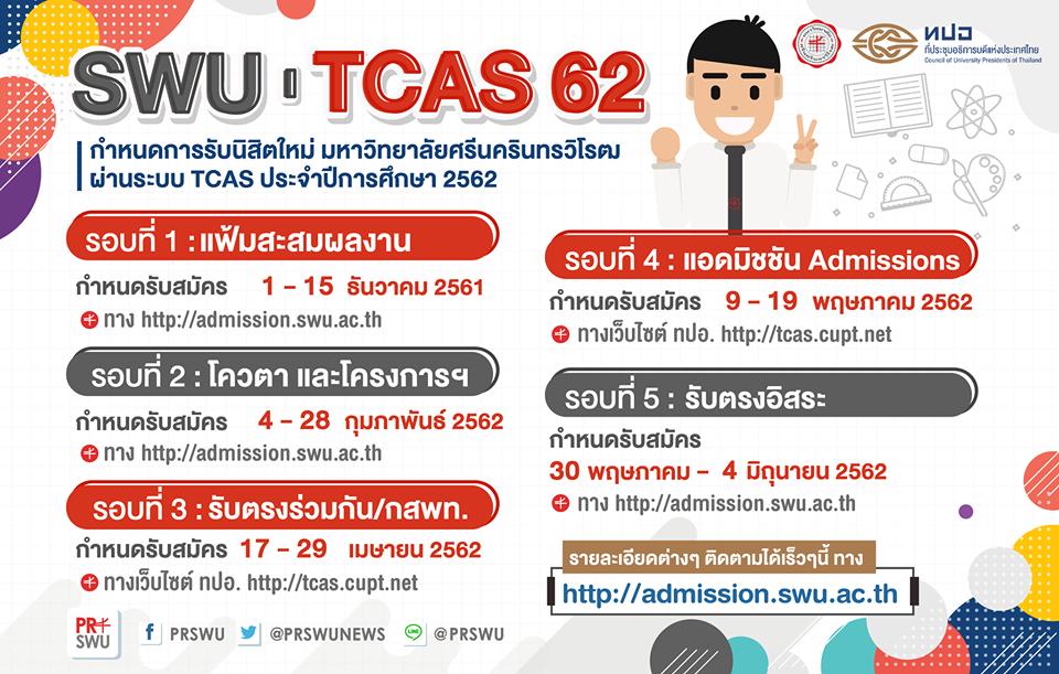 กำหนดการรับสมัครนิสิตใหม่ มหาวิทยาลัยศรีนครินทรวิโรฒ TCAS62