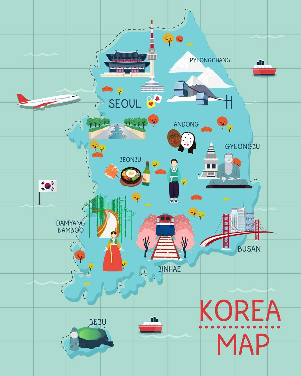 แผนที่ประเทศเกาหลีใต้ วัฒนธรรมของประเทศเกาหลี
