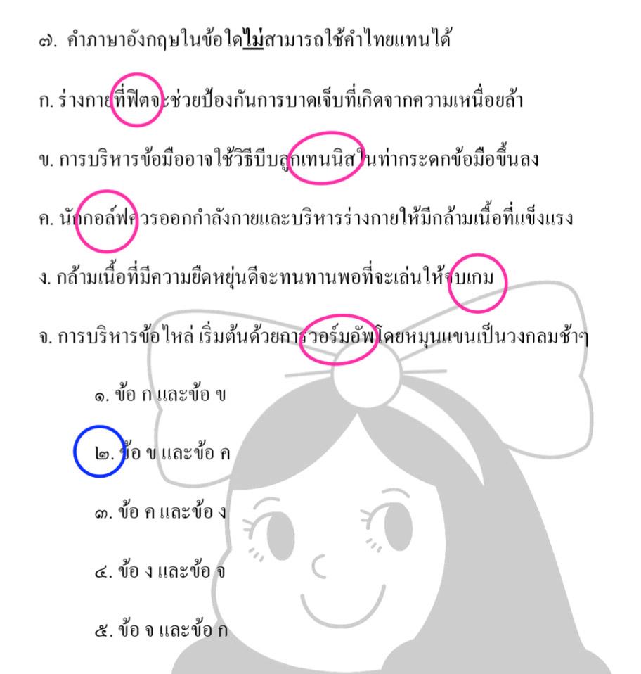 คำภาษาอังกฤษในข้อใด ไม่สามารถใช้คำไทยแทนได้
