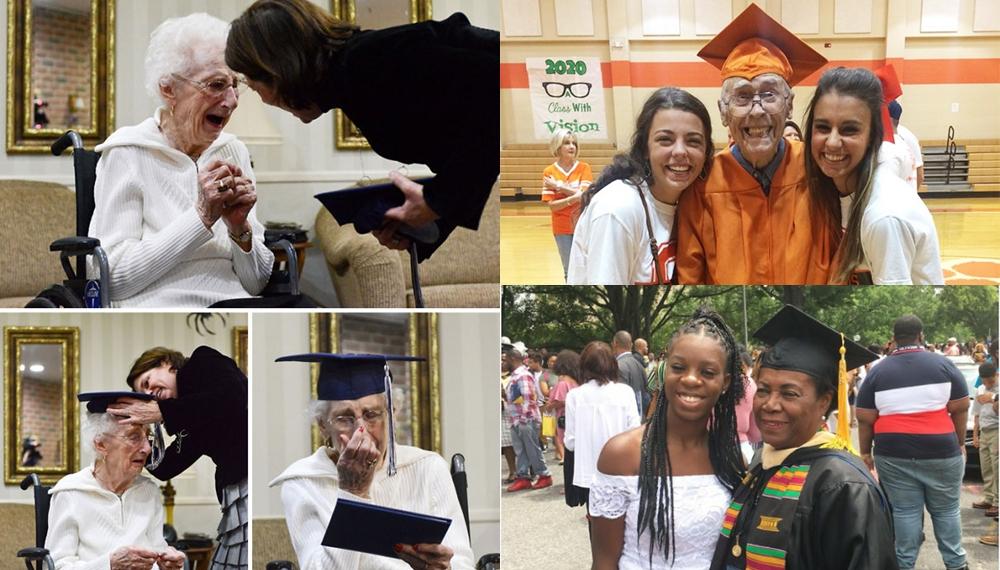 ผู้สำเร็จการศึกษาผู้สูงอายุ ผู้สูงวัย ผู้สูงอายุ รับปริญญา เรียนจบ
