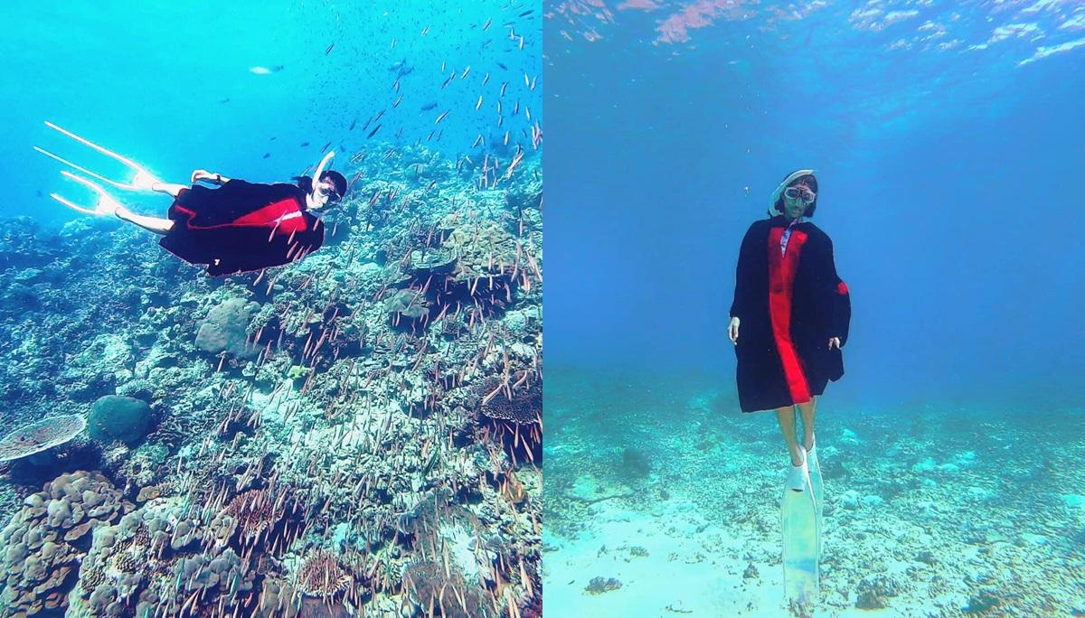dpu ชุดครุย ถ่ายภาพใต้น้ำ บัณฑิตจบใหม่ รับปริญญา